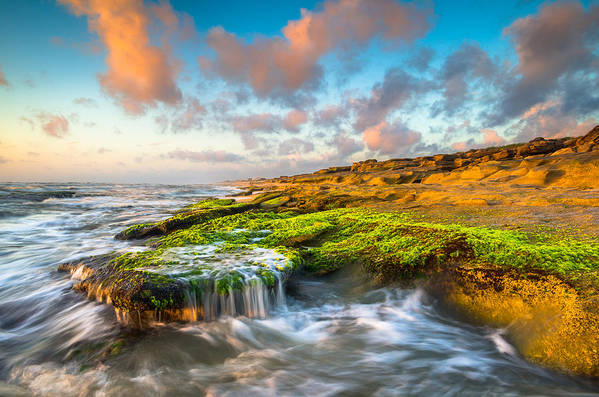 St Augustine Poster featuring the photograph St. Augustine Fl Beach Sunrise - The Coquina Coast by Dave Allen