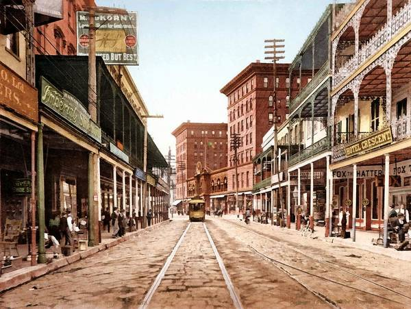 Unknown Poster featuring the digital art St Charles Street New Orleans 1900 by Unknown