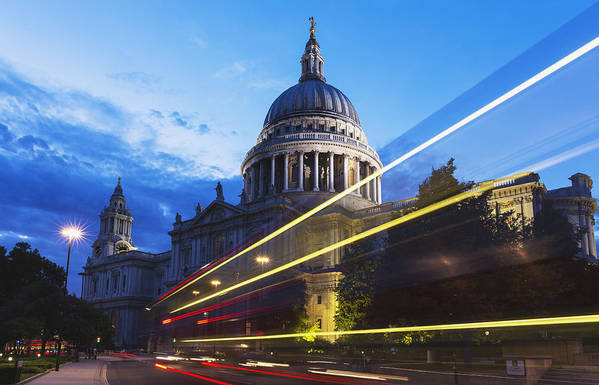 Transportation Poster featuring the photograph St. Pauls Cathedral And Light Trails by Mark Thomas