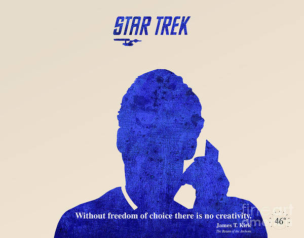Star Trek Poster featuring the drawing Star Trek Original - Kirk Quote by Pablo Franchi