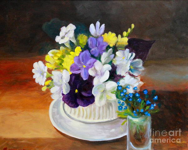 A Still Life Poster featuring the painting Still Life Freesias And Pansies by Sherrill McCall