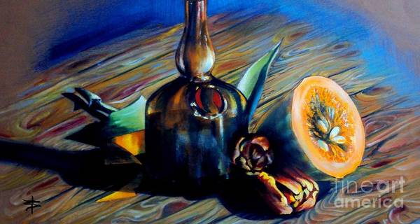Delicate Poster featuring the painting Still Life With Pumpkin And Tulips by Alessandra Andrisani