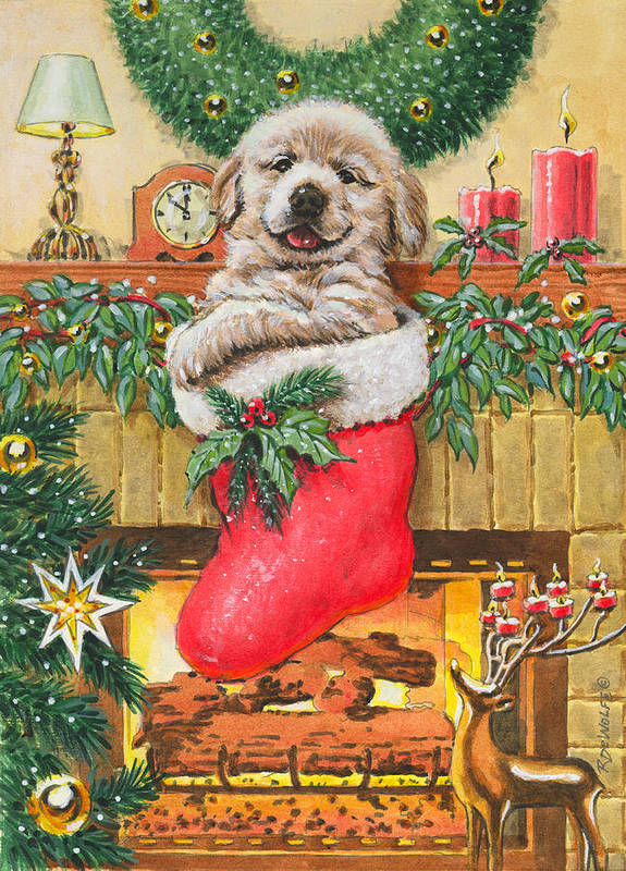 Puppy Poster featuring the painting Stocking Stuffer by Richard De Wolfe