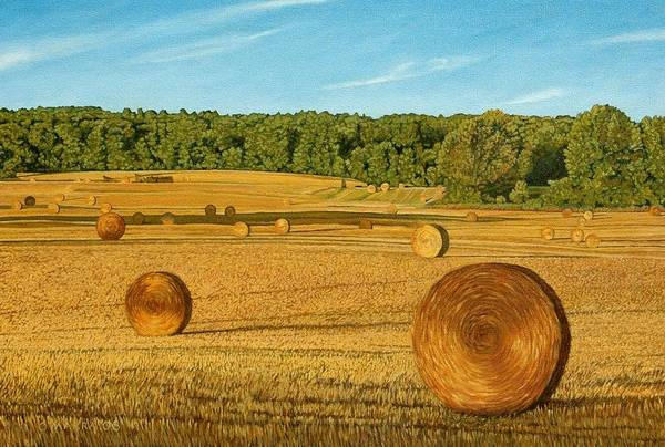 Landscape Poster featuring the painting Straw Wheels - North Pickering by Allan OMarra