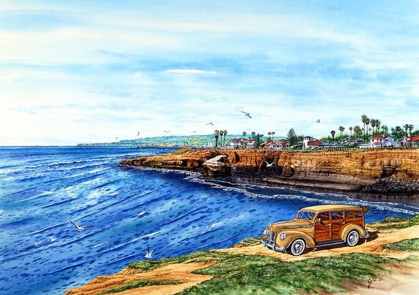 San Diego Paintings Poster featuring the painting Sunset Cliffs Ocean Beach by John YATO
