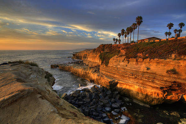Clouds Poster featuring the photograph Sunset Cliffs by Peter Tellone