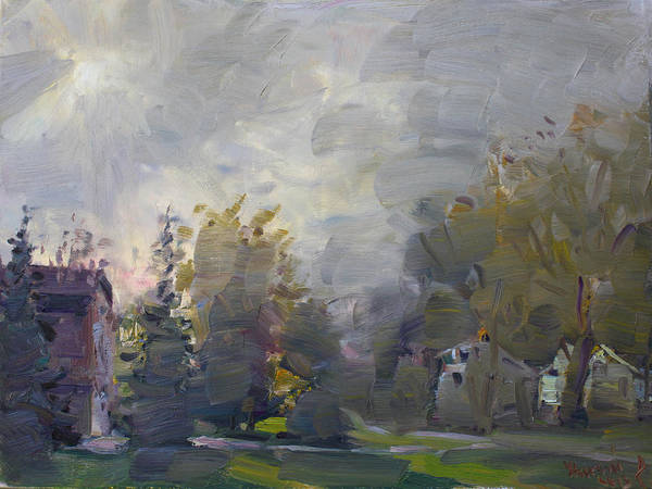 Fall Poster featuring the painting Sunset In A Foggy Fall Day by Ylli Haruni