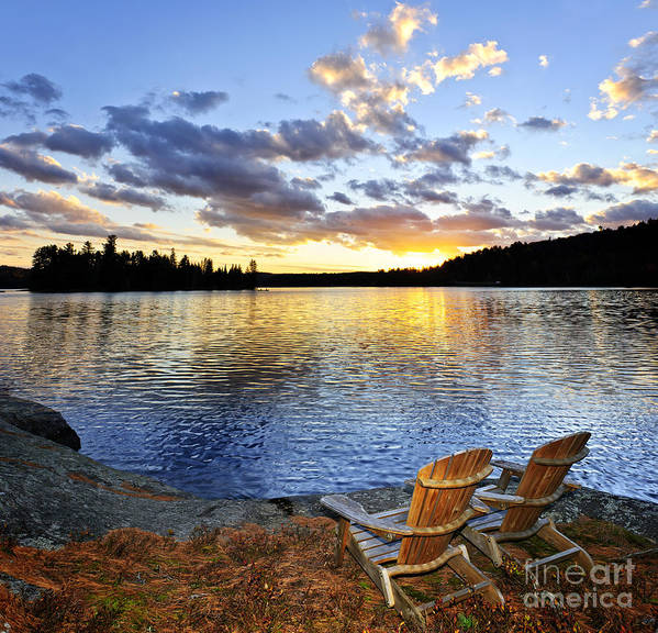 Lake Poster featuring the photograph Sunset In Algonquin Park by Elena Elisseeva