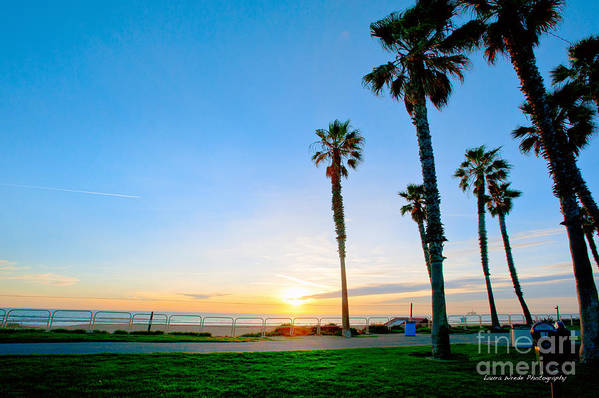 Southern California Sunset Beach Poster featuring the photograph Sunset Over Santa Barbara by Artist and Photographer Laura Wrede