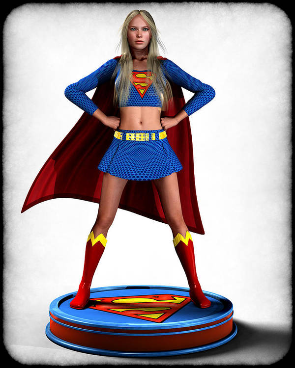 Super Girl Poster featuring the digital art Super Girl V2 by Frederico Borges