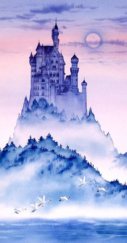 Germany Art Canvas Images Poster featuring the painting Swan Castle by John YATO