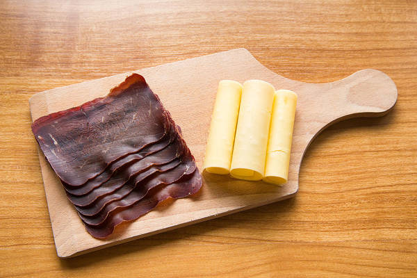Dried Meat Poster featuring the photograph Swiss Food - Dried Meat And Cheese by Matthias Hauser