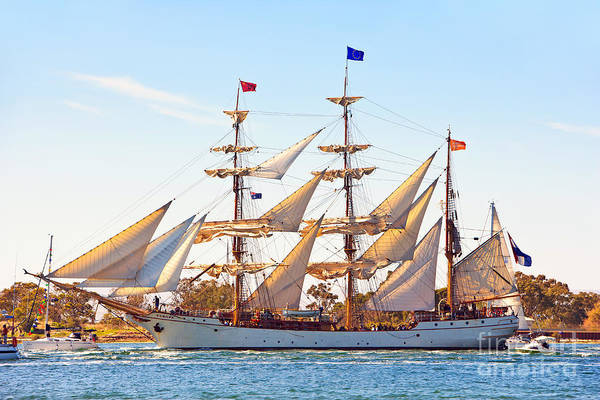 Tall Ship Port River Adelaide South Australia Maritime Historical 3 Three Masts Poster featuring the photograph Tall Ship by Bill Robinson