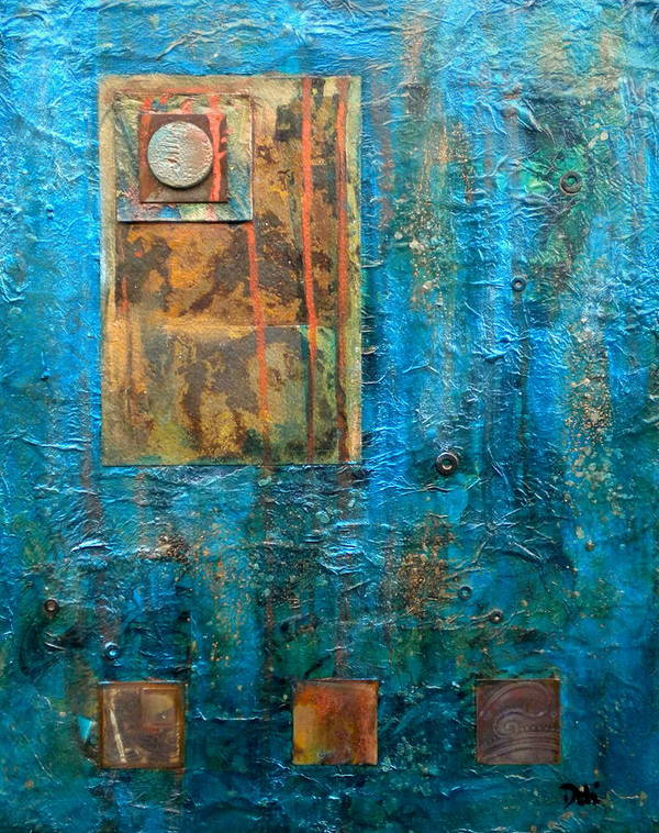 Teal Windows Poster featuring the painting Teal Windows by Debi Starr