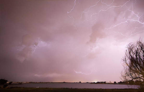 Lightning Poster featuring the photograph Terry Lake Lightning Thunderstorm by James BO Insogna