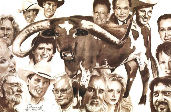 Country Poster featuring the painting Texas Born by Bill Olivas