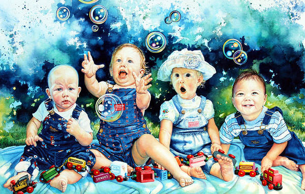 Child Portrait Poster featuring the painting The Bubble Gang by Hanne Lore Koehler