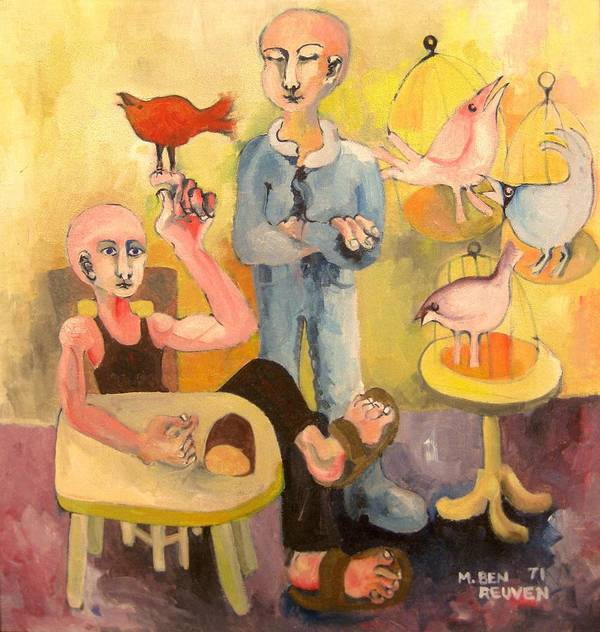 Israel Expressionist Art Prints Poster featuring the painting The Cardinal Sings by Moshe BenReuven