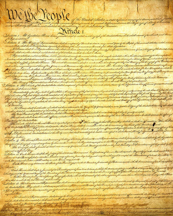 Constitution Poster featuring the mixed media The Constitution Of The United States Of America by Design Turnpike