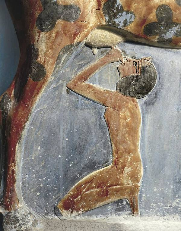 Vertical Poster featuring the photograph The Cow Goddess Hathor Breast Feeding by Everett