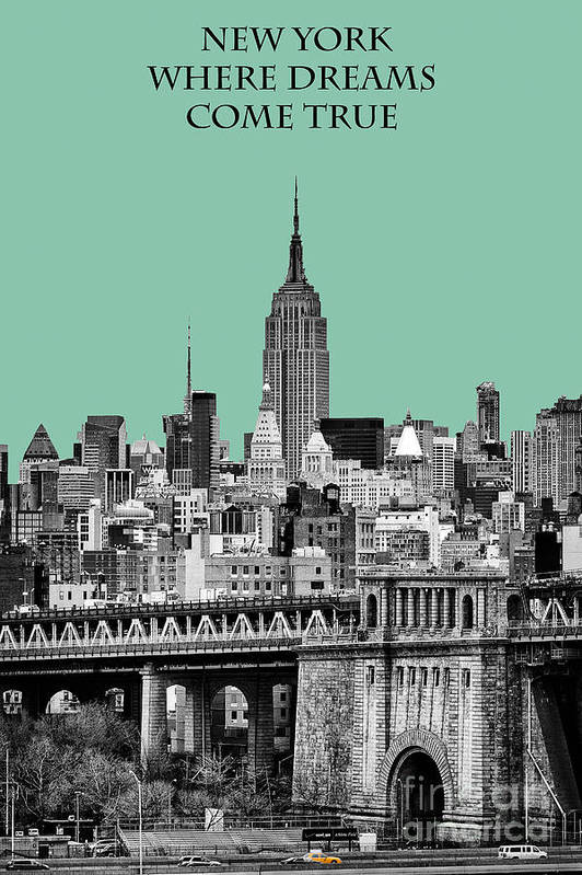 New York Canvas Poster featuring the photograph The Empire State Building Pantone Jade by John Farnan