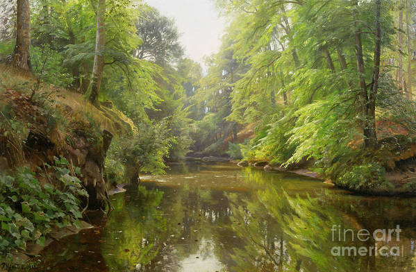 Landscape Poster featuring the painting The Quiet River by Peder Monsted