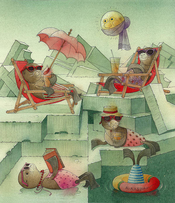 Seals Polar Arctic Winter Night Moon Snow Ice Beach Holiday Christmas Poster featuring the painting The Seal Beach by Kestutis Kasparavicius