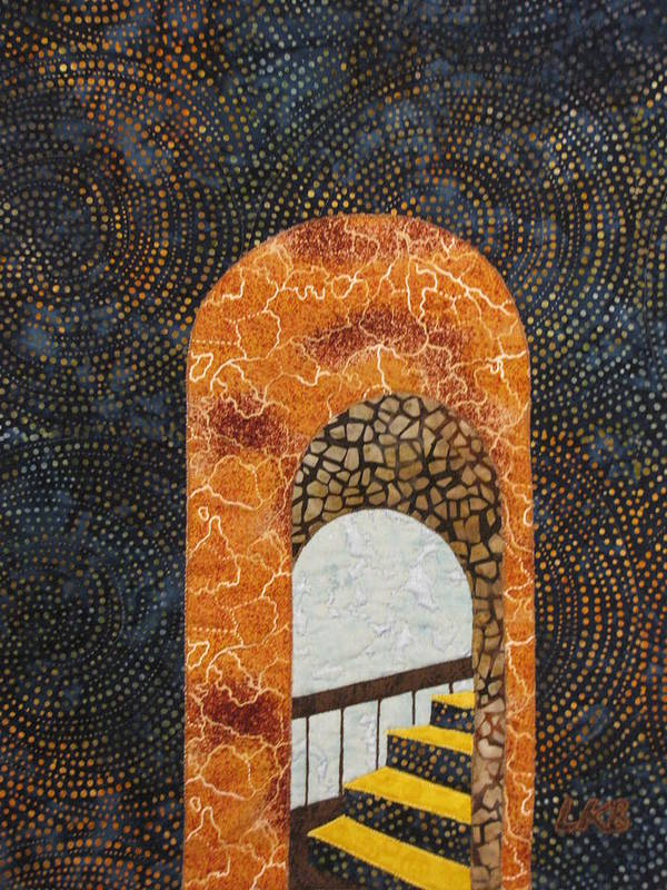 Art Quilts Tapestries - Textiles Poster featuring the tapestry - textile The Staircase by Lynda K Boardman