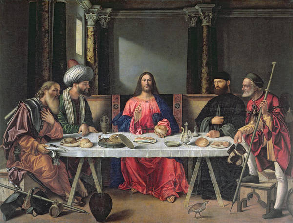 Interior Poster featuring the painting The Supper At Emmaus by Vittore Carpaccio