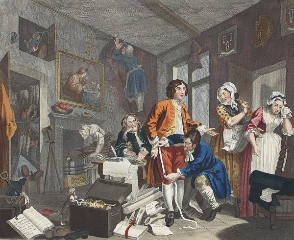 Inheritence Poster featuring the drawing The Young Heir Takes Possession by William Hogarth