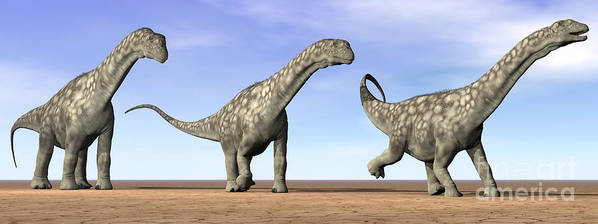 Three Dimensional Poster featuring the digital art Three Argentinosaurus Dinosaurs by Elena Duvernay