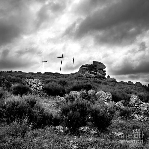 Outdoors Poster featuring the photograph Three Crosses by Bernard Jaubert