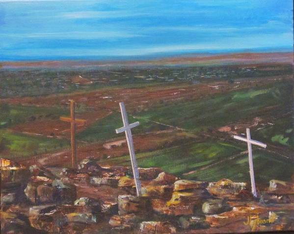 Crosses Poster featuring the painting Three Crosses Of Tome Hill by Judy Lybrand