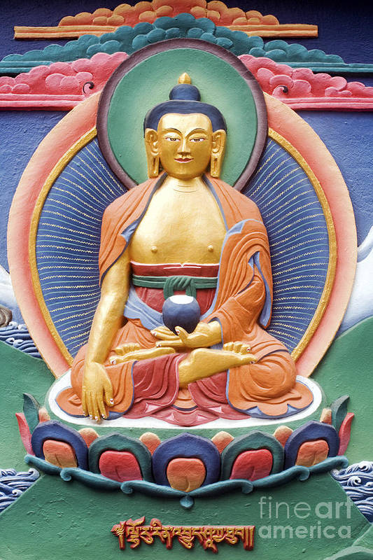 Buddha Poster featuring the photograph Tibetan Buddhist Deity Wall Sculpture by Tim Gainey