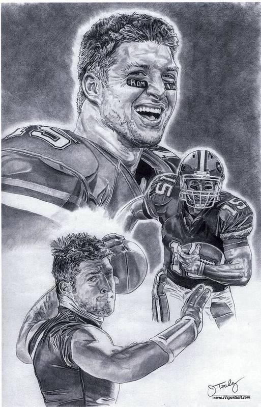 Tim Tebow Poster featuring the drawing Tim Tebow by Jonathan Tooley
