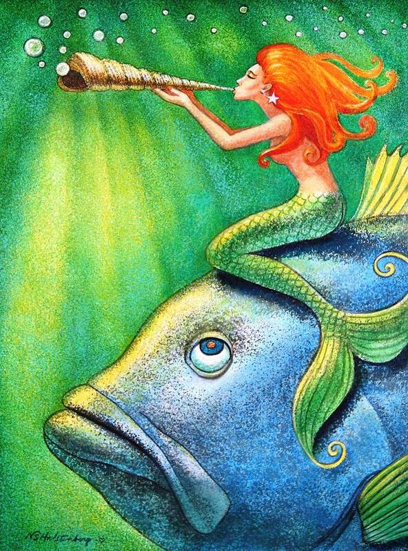 Mermaid Poster featuring the painting Toot Your Own Seashell Mermaid by Sue Halstenberg