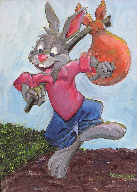 Rabbit Poster featuring the painting Traveling Rabbit by Terry Lewey