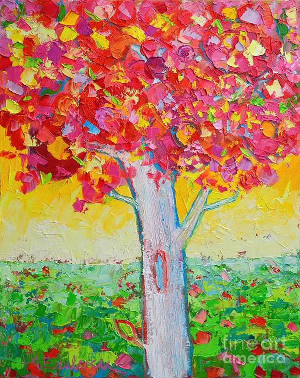 Tree Poster featuring the painting Tree Of Life In Spring by Ana Maria Edulescu
