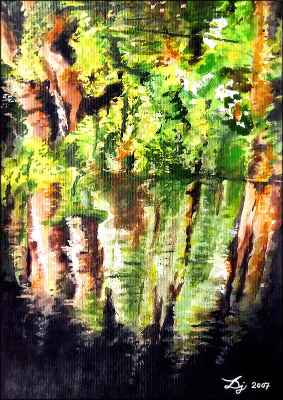 Trees Poster featuring the painting Trees by Daniel Janda