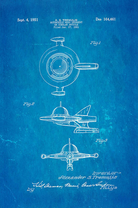 Automotive Poster featuring the photograph Tremulis Spaceship Hood Ornament Patent Art 1951 Blueprint by Ian Monk