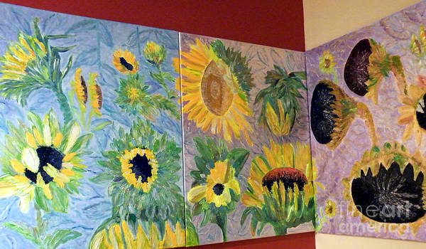 Triptych Sunflower Poster featuring the painting Tryptich Corner Sunflowers by Vicky Tarcau