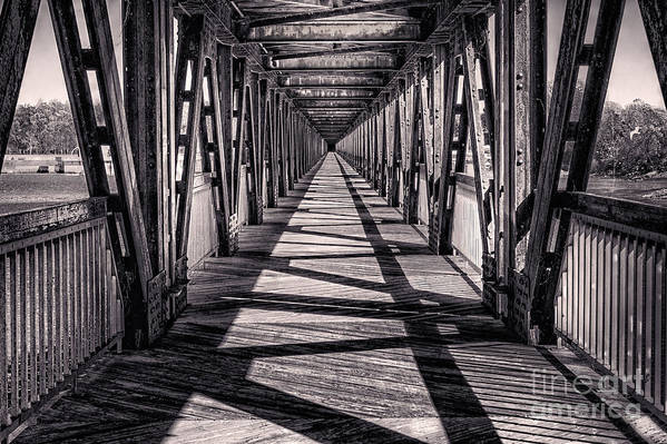 Tulsa Poster featuring the photograph Tulsa Pedestrian Bridge In Black And White by Tamyra Ayles