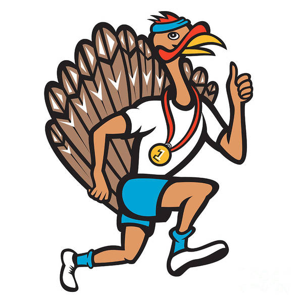 Turkey Poster featuring the digital art Turkey Run Runner Thumb Up Cartoon by Aloysius Patrimonio