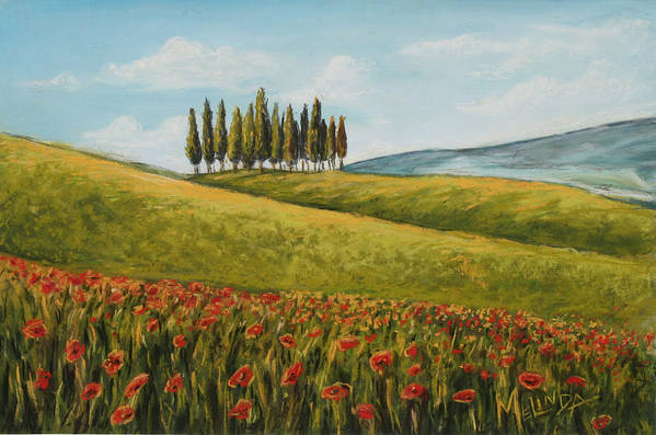 Tuscan Art Poster featuring the painting Tuscan Field With Poppies by Melinda Saminski