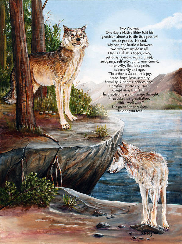 Landscape Poster featuring the painting Two Wolves- Poster by Dorothy Riley