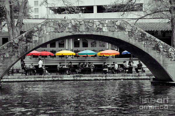 B&w Poster featuring the digital art Umbrellas Of Many Colors by John Kain