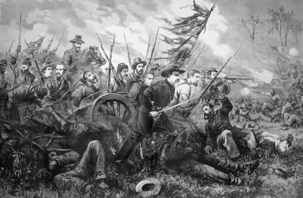 Gettysburg Poster featuring the painting Union Charge At The Battle Of Gettysburg by War Is Hell Store
