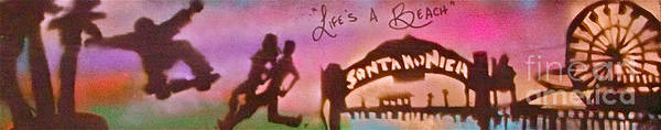 Graffiti Poster featuring the painting Venice Beach To Santa Monica Pink by Tony B Conscious
