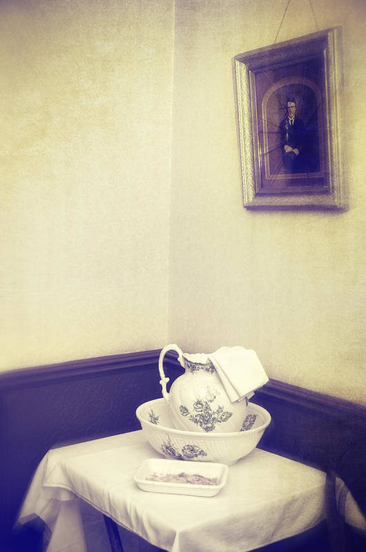 Patterned Poster featuring the photograph Victorian Wash Basin And Jug by Amanda And Christopher Elwell