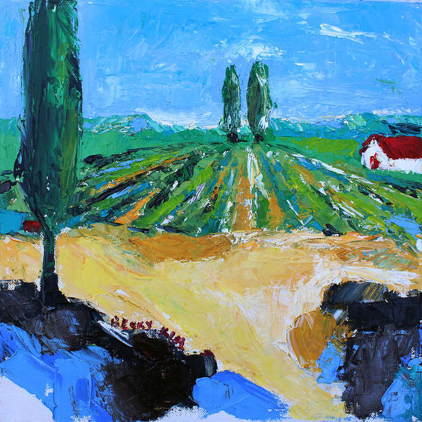 Landscape Poster featuring the painting Vineyard 3 by Becky Kim